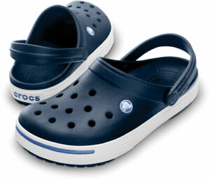Crocs CrocBand II Navy Blue White Clogs Slip On Classics Sandals 11989 42T New