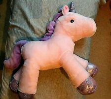 "Furry Plush Unicorn Soft Toy -  Pink - Sainsbury's - 12 "" tall for age 1+ VVGC"