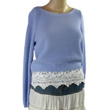 CHICO's Blue Sweater White Lace Hem Size 0