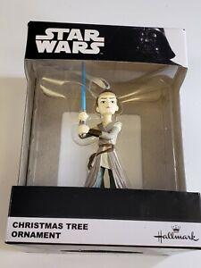 HALLMARK STAR WARS REY Figure Christmas Tree Ornament NIB Black Box