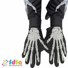 BLACK SKELETON GLOVES BONES 3D - adult mens ladies halloween fancy dress costume