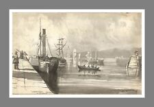 """Hartlepool Harbour"" Co. Durham c1830 Original Drawing by E.F Boyd F.G.S., Ryton"
