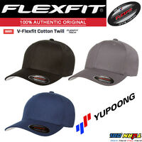 NEW Original FLEXFIT Baseball Fitted Hat Cap Black V-Flexfit Cotton Twill #5001