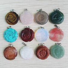 Wholesale mixed natural stone pendant charms craved rose flower pendants 12pcs