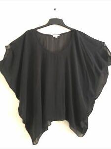 Helmut Lang Black silk blouse top one size LAGENLOOK