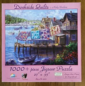 """SUNSOUT 1000 PIECE JIGSAW """"DOCKSIDE QUILTS"""" BY NICKY BOEHME COMPLETE"""