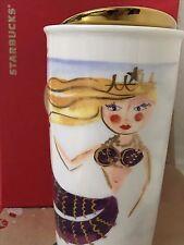 NEW Starbucks 2015 Illustrated Siren Mermaid Ceramic Traveler Tumbler/Mug