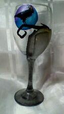 HAND Painted Gotico Nero Raven Lapide blu viola luna grande vino in vetro