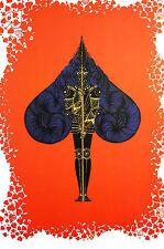 Erte 1982 - ACE of SPADES -Warrior GAMBLING CARD GAME - Art Deco Print Matted