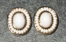 Liz Claiborne Much Have Button White & Gold Clip Ear Rings L@K!