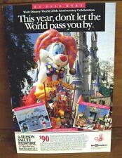 Authentic Disney Epcot Park Four-Season Pass Ticket Advertisement Sign 11x16.5in