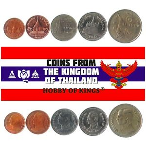 5 DIFFERENT COINS FROM THAILAND. OLD ASIAN COLLECTIBLE MONEY. FOREIGN CURRENCY