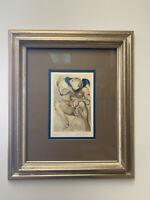 Salvador dali Signed Woodblock In Beautiful Vintage Gilded Frame!!!
