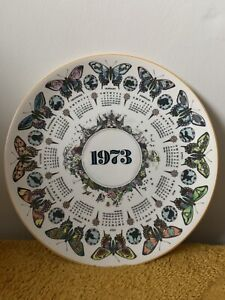 Wedgwood Calendar Collectors Plate 1973 'Bountiful Butterfly', 10' in Diameter