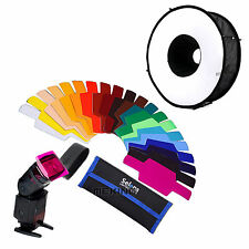 "SE-CG20 FLash Color Gels Filter 20pc + 18""/45cm Speedlight round flash softbox"