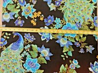 Peacock Peacocks PLUME Feathers on black CM8662 durable cotton novelty Fabric