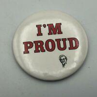"Vtg KFC Kentucky Fried Chicken Pin Pinback 3"" Colonel Sanders I'm Proud Y4"