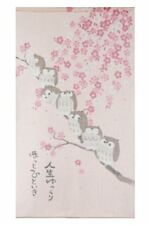 Noren Curtain Tapestry Owl Cherry Blossoms 85×150cm 10-052 MADE IN JAPAN