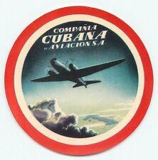 CUBA COMPANIA CUBANA DE AVIACION VINTAGE AIRLINE LUGGAGE LABEL