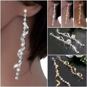 Ohrringe lang 9cm Schmuck Damen Strass Gold Silber Ohrhänger Spirale Twist VO15