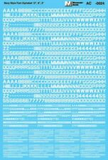 "Microscale Decals 1/48 U.S. Navy Style Font - White Alphabet - 12"", 6"" & 3"" # MS"
