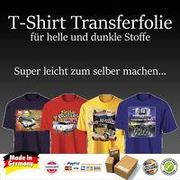 3 Bl. T-Shirt Folie Transferfolie Textilfolie für helle und dunkle Stoffe A4