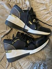Michael Kors signature black with gold healed tennis shoes 7.5 Sneaker