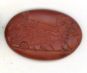Large  Roman Style Red Jasper Intaglio Signet Seal