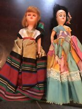 Lot Of 2 Small Sleep Eye Dolls With International Dress Ethnic Cultures