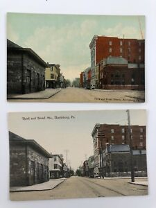 Third and Broad Streets In Harrisburg, Pa - Lot Of 2 Same View - Early 1900's