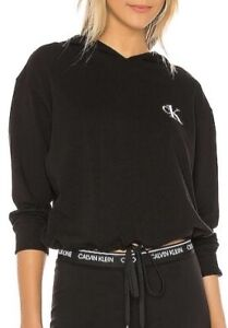 Women's CK Small Black sleepwear cropped hoodie new with tags
