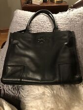 Tory Burch ELLA Leather Canvas Shoulder Bag Tote Black