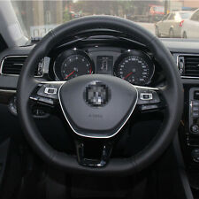 1 set Black Leather Wrap Steering Wheel Cover Stitch on For VW Golf 7