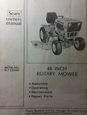 Sears Suburban SS GT Garden Tractor 48 Mower Deck Implement Owner & Parts Manual