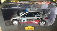 """DIE CAST """" PEUGOET  206 WRC - 2002 M. GRONHOLM """" RALLY ALTAYA  SCALA 1/18"""