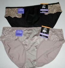 2 Bali Satin Lace Bikini Panty Set Nylon 7 L Soft 2829 Black Gray Sassy or Sweet