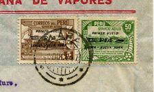PERU FIRST FLIGHT OVERPRINTS AIRMAIL FRANKING PERUANA DE VAPORES FLAG ENV 1947