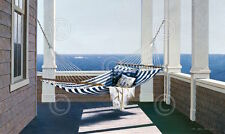 Lu Zhen Huan Striped Hammock Porch Ocean Beach Coastal Print Poster 19x13