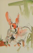 JOSE TRUJILLO - Collectible Artist COA ORIGINAL Watercolor Painting SIGNED Bunny