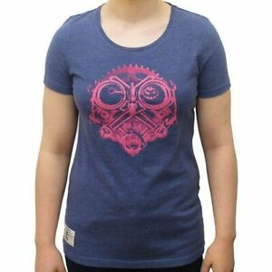 Ladies T-Shirt > Red Torpedo Petrol Head Marl 100% Cotton Carbon Washed - Blue