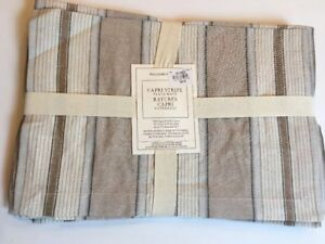 Williams Sonoma Capri Stripe Place Mats Tan Cream Linen Cotton Set of 4