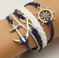 NEW DIY Hot Infinity Love Anchor Leather Cute Charm Bracelet plated Silver EY
