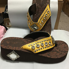 Bling Flip Flops Yellow Montana West Rhinestone Cushion Sandals Ladies Sz 7