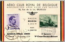 Gp Goldpath: Belgium Post Card 1938 Air Mail _Cv226_P15