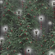Holiday Wishes by Henry Glass-BTY-Green Trees-Red Ornaments-Street Lamps