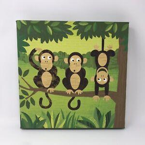 Monkey Trio Canvas Art Print 12x12x1.5 Inches Kids Room Decor Nursery Jungle