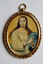 Portrait Ölbild Madonna signiert alter Messingrahmen Ovalrahmen ★ Rarität