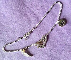 "Stainless Steel Footprint, Angel Wing Anklet Bracelet 10""+/925 Silver."