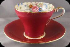 Aynsley Corset Burgundy Floral Cup & Saucer B5028