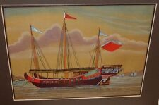 CHINESE SEASCAPE SHIP ORIGINAL WATERCOLOR ON SILK PAINTING UNSIGNED